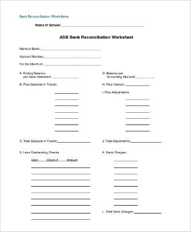Bank Reconciliation Worksheet with Blank Bank Reconciliation Template Staruptalent