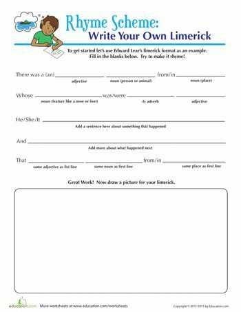 Basic Skills English Worksheets together with Write A Limerick