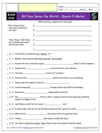 Bill Nye Pollution solutions Worksheet Answers Also Free Bill Nye Saves the World Worksheet and Video Guide Free