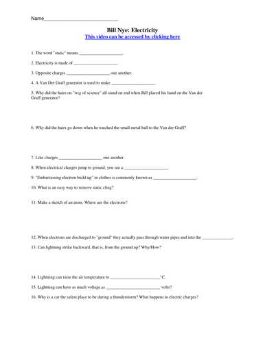 Bill Nye Static Electricity Worksheet and Bill Nye the Science Guy Electricity Worksheet Answers