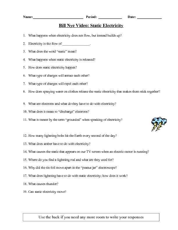 Bill Nye Static Electricity Worksheet and Bill Nye the Science Guy Static Electricity Worksheet