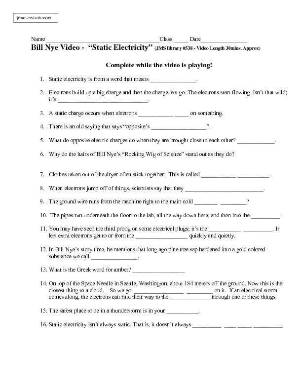 Bill Nye Static Electricity Worksheet as Well as Free Bill Nye Static Electricity Worksheet