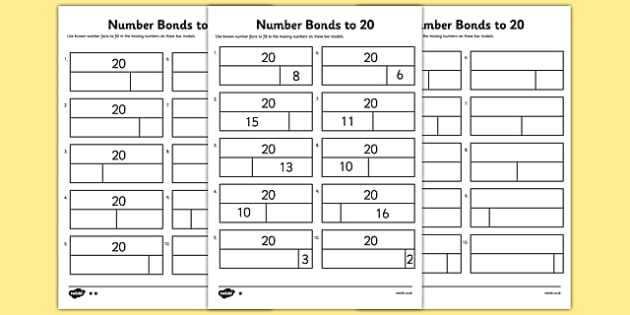 Bonding Basics Worksheet as Well as Bar Modelling Number Bonds to 20 Differentiated Worksheet