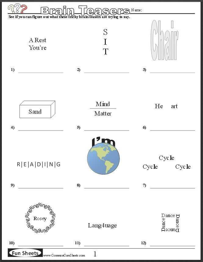 Brain Games Worksheets with Free Brain Teaser Printables Four Free Worksheets that Will Keep