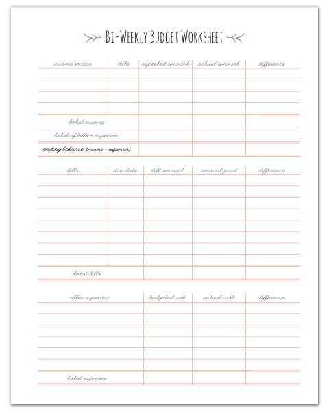 Budget Helper Worksheet Printable or Finance Planners