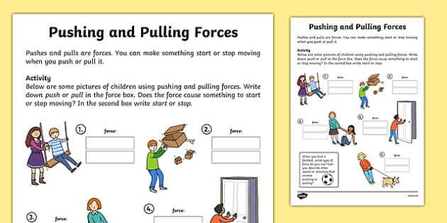 Calculating force Worksheet Along with Pushing and Pulling forces Worksheet Push and Pull Pushing