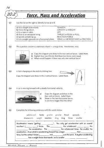Calculating force Worksheet Answers Also force Mass and Acceleration 358—507 Projects to Try