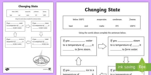 Changes Of State Worksheet Answers with Changing States Ice Water Steam Worksheet Changing States