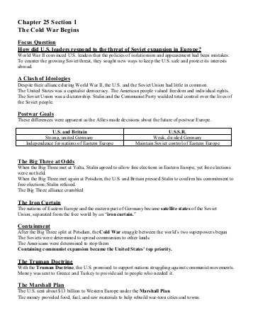Chapter 11 Section 1 World War 1 Begins Worksheet Answers Also Chapter 39 the Cold War Expands