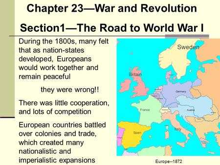 Chapter 11 Section 1 World War 1 Begins Worksheet Answers or the Road to World War I Wwi Chapter 23 Section Ppt