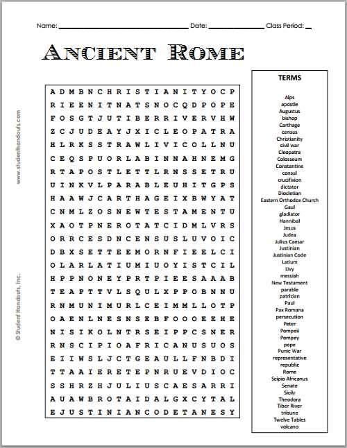 Chapter 6 Ancient Rome and Early Christianity Worksheet Answers and Free Printable Ancient Rome Word Search Puzzle