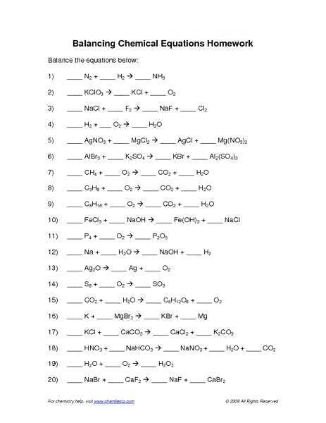 Chapter 7 Worksheet 1 Balancing Chemical Equations as Well as Lovely Balancing Chemical Equations Worksheet Answers Inspirational