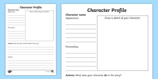 Character Profile Worksheet and Character Profile Sheet Guvecurid