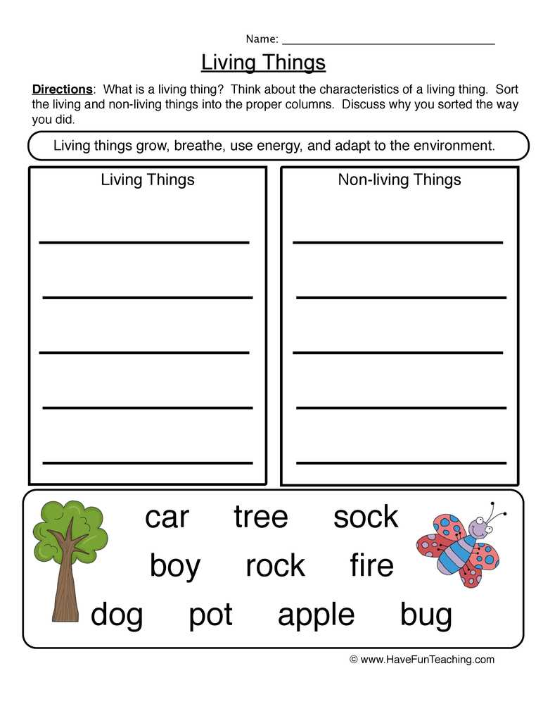 Characteristics Of Living Things Worksheet as Well as Characteristics Living Things Worksheet 2 – sort