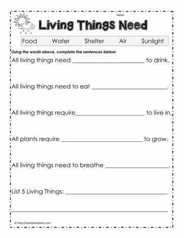 Characteristics Of Living Things Worksheet with Living Things Worksheets Kidz Activities
