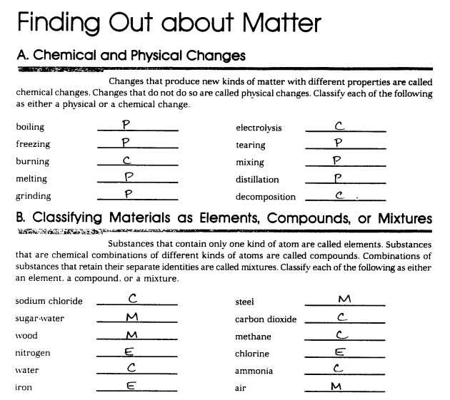 Chemistry 1 Worksheet Classification Of Matter and Changes Answer Key with Classifying Matter Worksheet Answers Lovely Mixture Worksheet