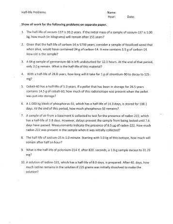 Chemistry Of Life Worksheet 1 and Nuclear Reactions and Half Life Worksheet Plymouth State