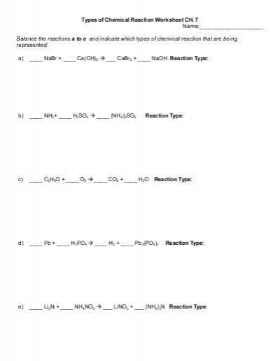Chemistry Worksheet Answers Along with Types Of Chemical Reaction Worksheet Ch 7 Name Balance the
