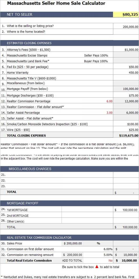 Closing Cost Worksheet with Massachusetts Home Seller Calculator Easily Estimate the Closing