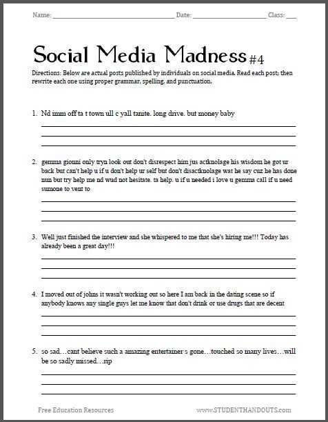 Cnn Student News Worksheet with social Media Madness Worksheet 4 Fourth Free Printable Worksheet