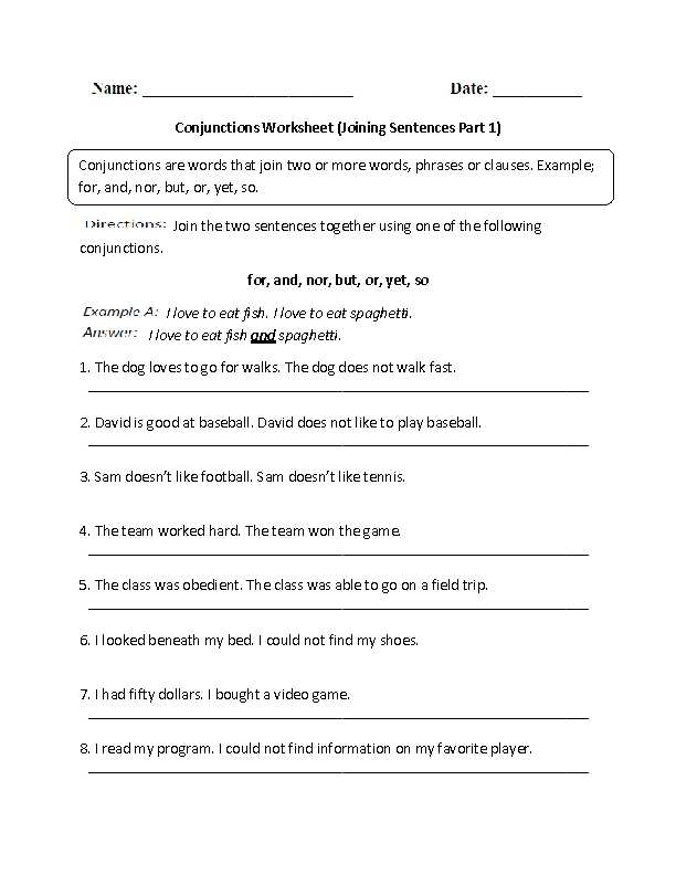 Combining Sentences 4th Grade Worksheets Also Conjunctions Worksheet Joining Sentences Intermediate
