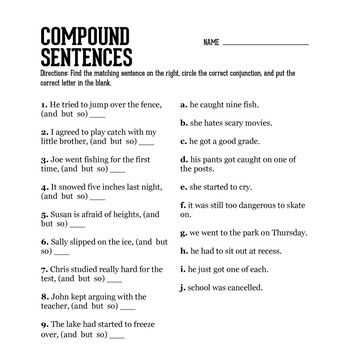 Combining Sentences 4th Grade Worksheets with Pound Sentence Practice