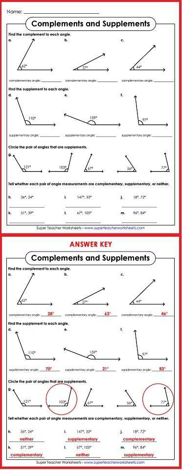 Complementary and Supplementary Angles Worksheet Answers Also 148 Best Math Super Teacher Worksheets Images On Pinterest