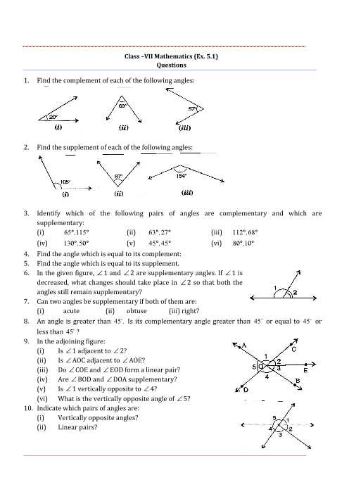 Complementary and Supplementary Angles Worksheet Answers as Well as Ncert solutions for Class 7 Maths Chapter 5 Lines and Angles