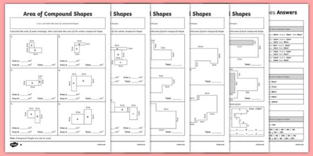 Compound Shapes Worksheet Answer Key as Well as area Of Pound Shapes Differentiated Worksheet Pack
