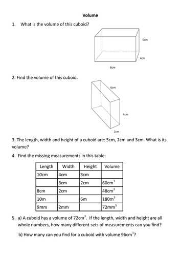 Compound Shapes Worksheet Answer Key together with Finding the Volume Of A Cuboid Rag by Rishna S Teaching Resources