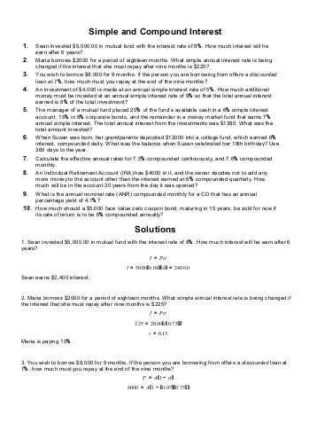 Continuous Compound Interest Worksheet with Answers Along with Simple and Pound Interest Homework Problems 1 the Billing
