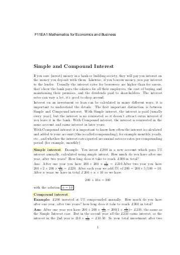 Continuous Compound Interest Worksheet with Answers with Simple and Pound Interest Homework Problems 1 the Billing
