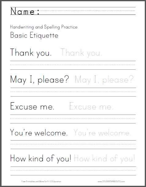 Cursive Alphabet Worksheets Pdf and Basic Etiquette Handwriting and Spelling Worksheet Free to Print