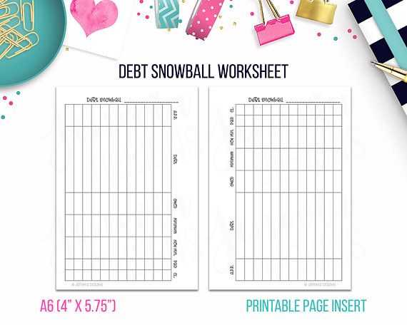Debt Snowball Worksheet Printable or A6 Debt Snowball Worksheet • Bud Binder Printable Page Insert