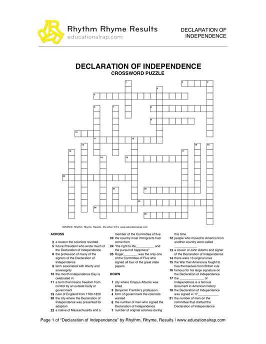 Declaration Of Independence Worksheet Answer Key with Declaration Of Independence song with Free Worksheets and