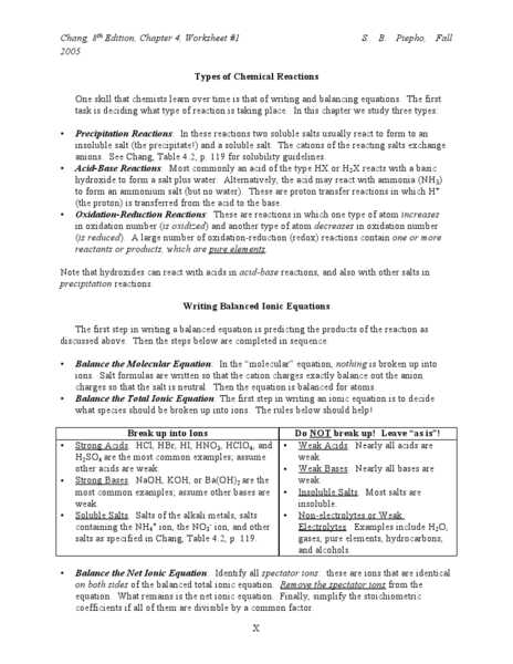 Describing Chemical Reactions Worksheet Answers and Types Of Chemical Reactions Worksheet Lesson Planet