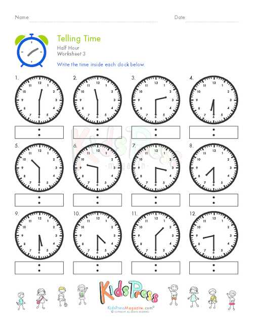Digital Clock Worksheets with Telling Time Half Hour Worksheet 3