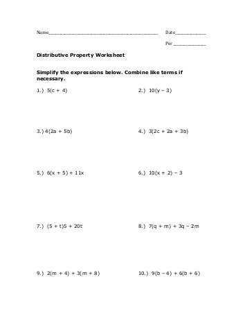 Distributive Property Combining Like Terms Worksheet as Well as Distributive Property Hw