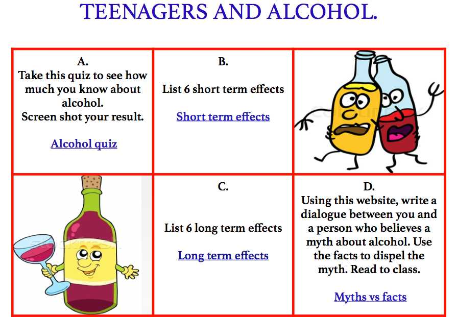 Effects Of Alcohol Worksheet with This Worksheet Invites Students to Study Alcohol by Visiting Various