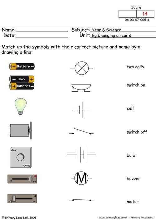 Electric Circuits and Electric Current Worksheet Answers or Primaryleap Electrical Symbols 1 Worksheet