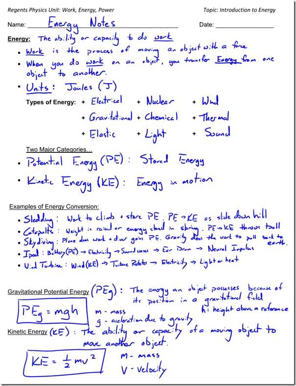 Energy and Energy Transformations Worksheet Answer Key Along with Kinetic Energy Math Worksheet Kidz Activities