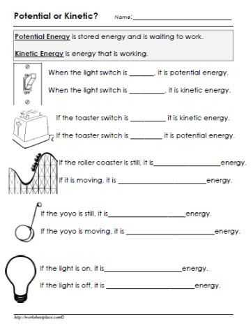 Energy and Energy Transformations Worksheet Answer Key and Potential or Kinetic Energy Worksheet Gr8 Pinterest