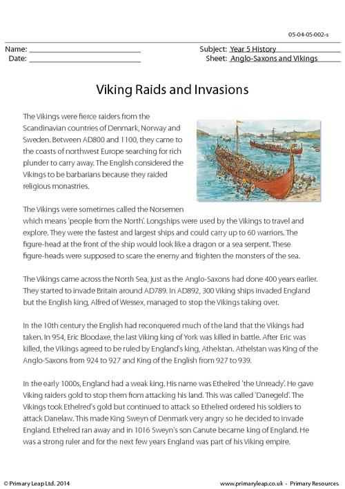 Esl Reading Comprehension Worksheets or Primaryleap Viking Raids and Invasions Reading