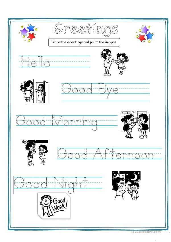 Esl Worksheets for Kids and Greetings for Kids Worksheets Handouts Pinterest