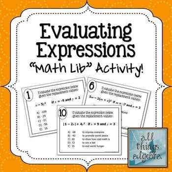 Evaluating Expressions Worksheet or Evaluating Expressions Math Lib