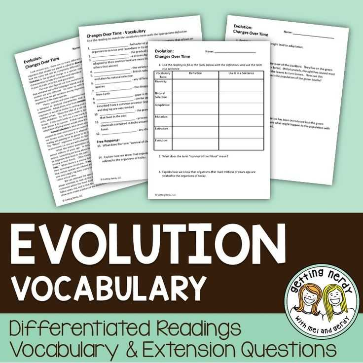 Evolution Vocabulary Worksheet or 126 Best Science Vocabulary and Word Walls Images On Pinterest