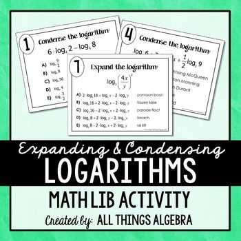 Expanding and Condensing Logarithms Worksheet as Well as Expanding and Condensing Logarithms Math Libin This Activity