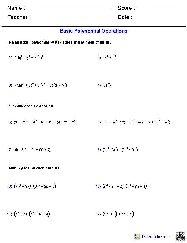 Factoring Polynomials Worksheet with Answers Algebra 2 as Well as Polynomial Functions Worksheets Algebra 2 Worksheets