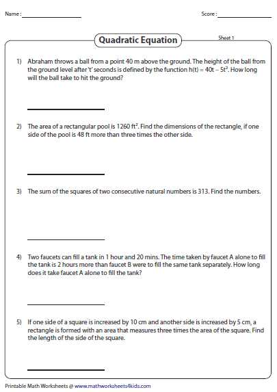 Factoring Quadratics Worksheet Along with Word Problems Involving Quadratic Equations