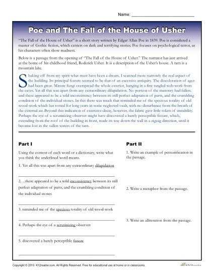 Fall Of the House Of Usher Worksheet Answers as Well as 83 Best Essay Writing Images On Pinterest
